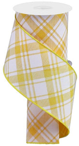 "4""X10Yd Diagonal Stripe/Multi Check Golden Yellow/White Rga1278Nc"
