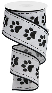 "2.5""X10Yd Paw Prints On Royal White/Black Rga132227"