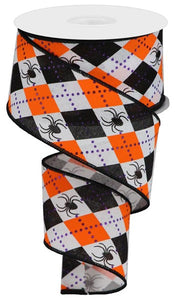 "2.5""X10YD WHITE/ORANGE/BLACK/PURPLE ARGYLE SPIDERS ON ROYAL RGA135027"