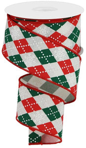 "2.5""X10YD Red/Emerald/Wh ARGYLE SNOWFLAKES ON ROYAL RGA135333"