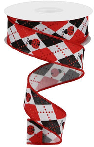 "1.5""X10YD ARGYLE LADYBUGS ON ROYAL RGA136427"