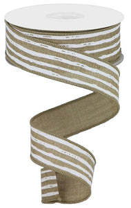 "1.5""X10Yd Irregular Stripes On Royal LT BEIGE/WHITE RGA138101"