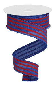 "1.5""X10yd Irregular Stripes On Royal Blue/Red RGA1381C9"