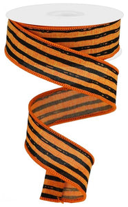 "1.5""X10Yd Irregular Stripes On Royal Orange/Black Rga138420"