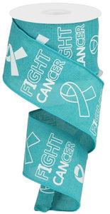 "2.5""X10Yd Fight Cancer On Royal Lt Teal/White Rga141434"