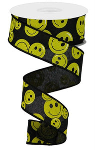"1.5""X10yd Smiley Face On Royal Blk/Ylw RGA146202"