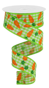 "1.5""X10Yd Carrots On Gingham Check Lime/Wh/Org/Grn Rga1593Ww"