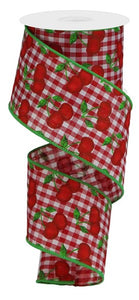 "2.5""X10yd Cherries On Gingham Check RGA165056"