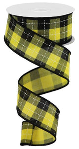 "1.5""X10Yd Printed Woven Check On Royal Sun Yellow/Black/White Rga18498N"