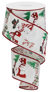 "2.5""X10yd Iridescent Snowman On Royal RGA185730  White"