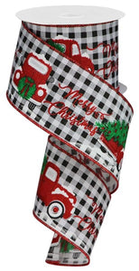 "2.5""X10yd Merry Christmas/Truck/Gingham RGA1906 White/Red/Gr/Blk"