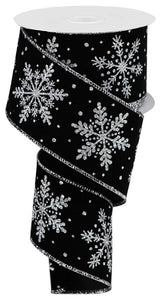 "2.5""X10yd Glittered Snowflakes On Black Velvet RGA192887"