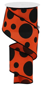 "2.5""X10yd Giant Two Size Dots/Pg Fabric RGA1943NY OR/BLK"
