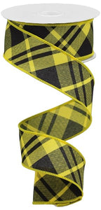 "1.5""X10Yd Printed Diagonal Plaid Sun Yellow/Black Rgb10508N"