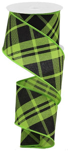 "2.5""X10yd Printed Diagonal Plaid RGB105133 Green/Blk"