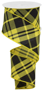 "2.5""X10YD PRINTED DIAGONAL PLAID Sun Yellow/Blk RGB10518N"