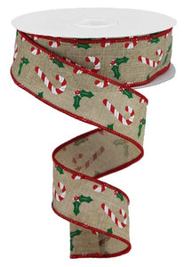 "1.5""X10Yd Candy Canes/Holly On Royal Lt Beige/Wht/Red/Emerald Rgb114301"