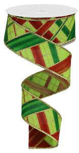 "1.5""X10yd Two Tone Stripe Check RGB116533 Lime/Red/Green/Gold"