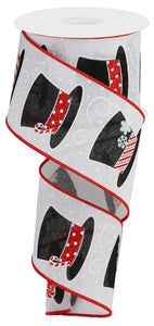 "2.5""X10Yd Snowman Hats On Royal Rgb129427 White/Red/Slvr/Black"