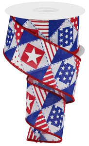 "2.5""X10Yd Patriotic Patchwork/Royal White/Red/Blue Rgc117627"