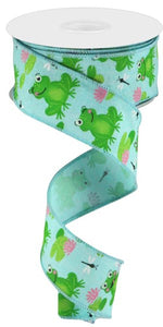 "1.5""X10Yd Frogs On Royal Ice Blue/Green/Pink/White Rgc1208Rm"