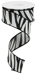 "1.5""X10Yd Animal Stripes On Pg Fabric White/Black Rgc122027 )"