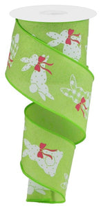 "2.5""X10Yd Patterned Bunnies On Royal BRIGHT GREEN/WHITE/PINK RGC1235H2"