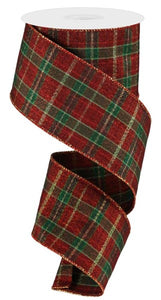 "2.5""X10Yd Plaid Rgc1243 Metallic Red/Gold/Green"