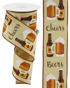 "2.5""X10Yd Cheers With Beers Tobacco/Wht/Gld/Brn Rgc12573M"