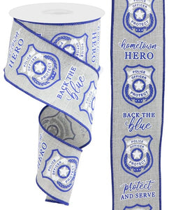 "2.5""X10Yd Police Badge On Royal Lt Grey/Blue/White Rgc13435X"