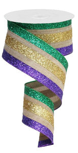 "2.5""X10yd Royal Burlap Glitter Stripe Wired Ribbon Purple/Gold/Green"