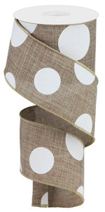 "2.5""X10Yd Large Multi Dots Beige/White RX914301"