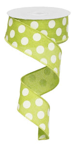 "1.5""X10Yd Medium Multi Dots Lime Green/White Rx9145Ww"