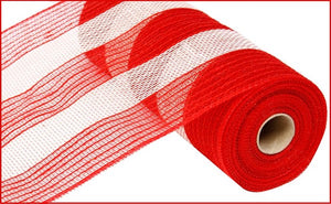 "10.5""X10Yd Poly/Faux Jute/Cotton Stripe Red/White Ry800449"