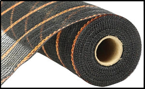 "10.5""X10Yd Poly/Jute/Metallic Mesh Black/Orange Ry8332E7"