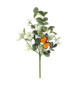 "White Daisy/Butterfly Pick Orange 87423 16.5""H"
