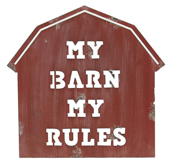 My Barn My Rules Tin Sign 11.75