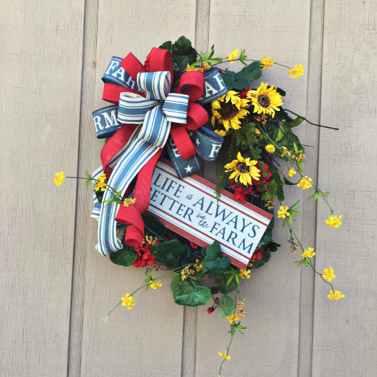 Farmhouse Life Wreath, Rustic Summer Wreath, Farmhouse Door Decor