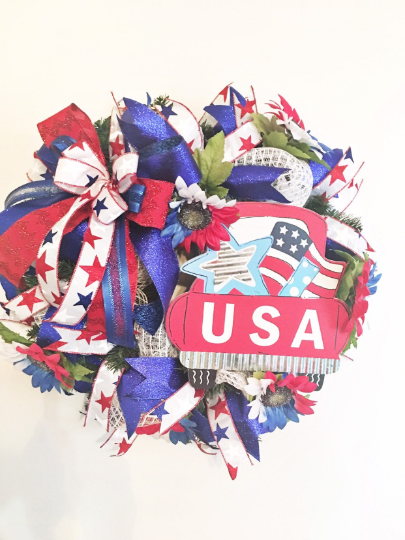 Patriotic Wreath, Memorial Day Wreath, 4th of July Wreath, America Wreath, Independence Day Wreath, USA Wreath, Patriotic Decor