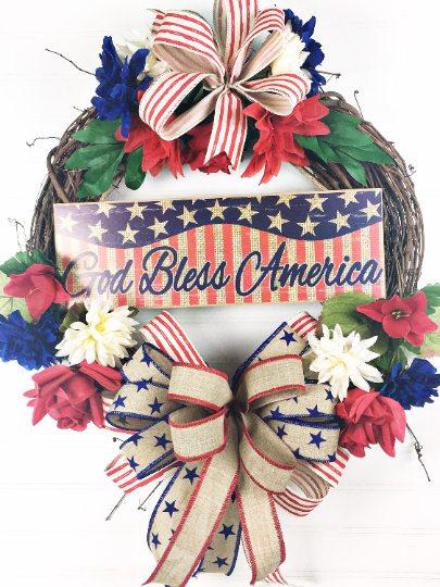 Rustic Patriotic Door Wreath, God Bless America