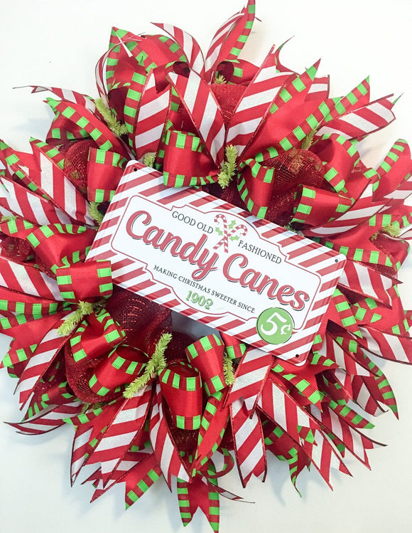 Christmas Candy Cane Winter Wreath