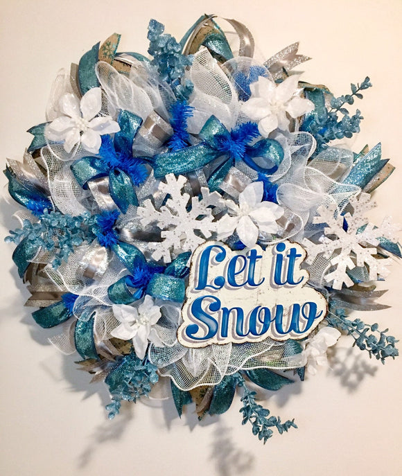 Winter Wreath, Winter Ice Blue Wreath, Snowflake Wreath