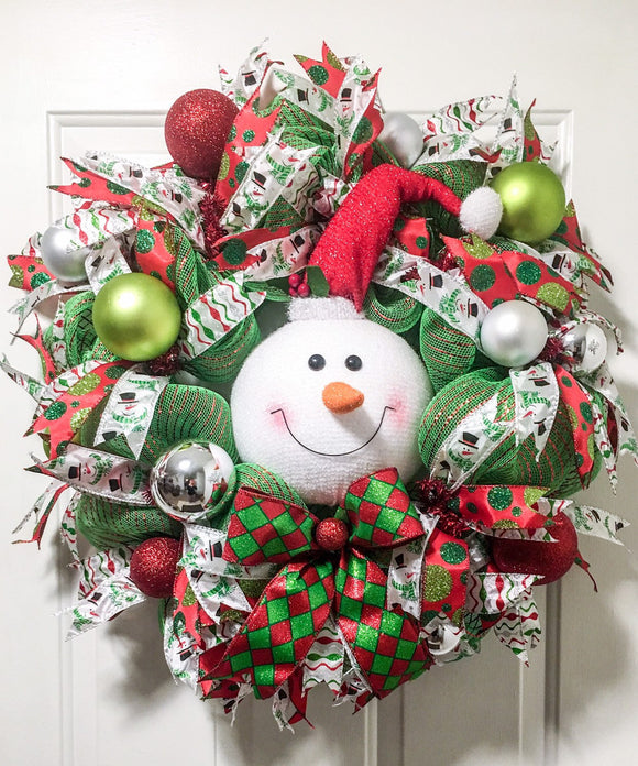 Snowman Christmas Whimsical Wreath for Front Door