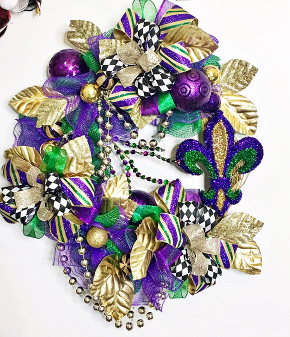 Mardi Gras Wreath, Mardi Gras Swag, Mardi Gras Decorations