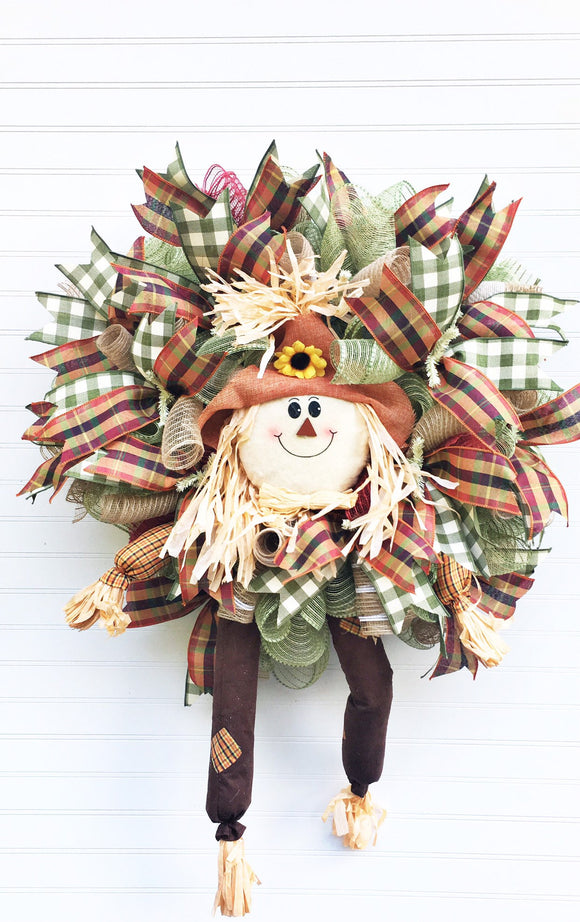 Scarecrow Door Decor, Fall Door Wreath, Harvest Front Door, Fall Wreath, Scarecrow Wreath