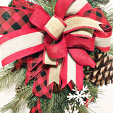 Christmas Winter Door or Wall Swag with Buffalo Plaid Ribbon