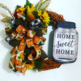 Home Sweet Home Decor, Harvest Front Door, Sunflower Wreath, Fall Sunflower Wreath