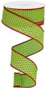 "1.5""X10Yd Swiss Dots On Burlap Lime/Red RGC115633"
