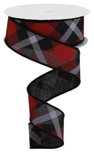 "1.5""X10Yd Printed Plaid On Royal Black/Red/Grey RG01682CM"