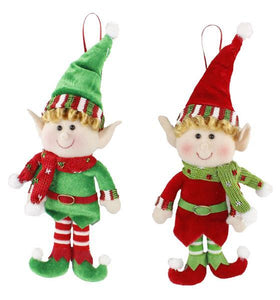 "11"" Fabric Felt Elf, 2Asst Red/Green XN4163"